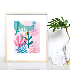 Organic shapes pink archival print