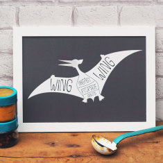 Pterodactyl butcher's meat cuts print