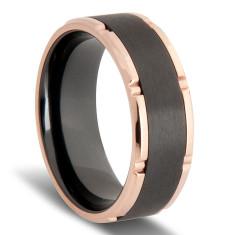 Custom Black Zirconium and Rose Gold Plated Edged Wedding Ring