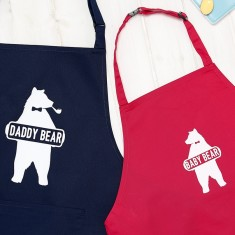 Personalised Daddy Bear And Baby Bear Apron Set