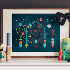 Home is where your heart is glow in the dark print