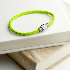 Personalised Unisex Woven Leather Bracelet In Chartreuse Green