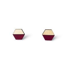 Hexagon half earring studs - burgundy