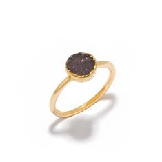 Mini Drusy Dark Grey Circle Stacking Ring