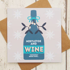 Mistletoe & wine Christmas card