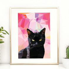 Geometric black cat art print