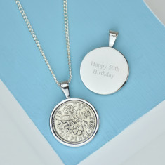 Sixpence 50th birthday coin necklace