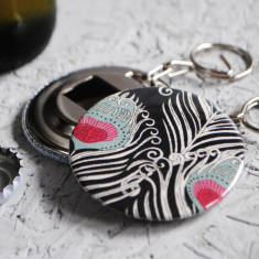 Peacock print bottle opener