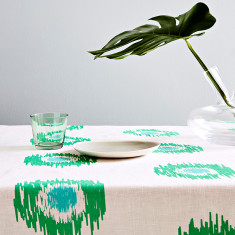 Ikat spot linen tablecloth in green/aqua