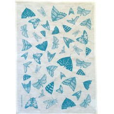Blue Moths linen tea towel (natural or off-white)