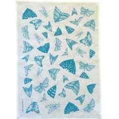 Blue Moths linen tea towel (natural or off-white)