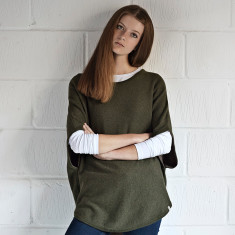 Reversible cotton cashmere poncho in sage & brown