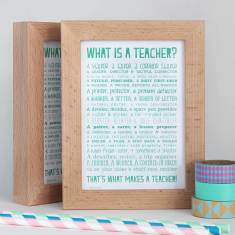 Teacher poem postcard in solid beech frame