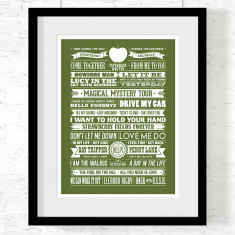 The Beatles greatest hits art print