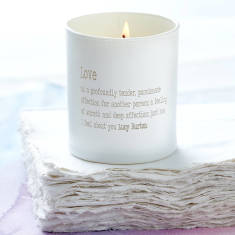Personalised love dictionary candle