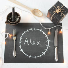 Chalkboard disposable Christmas placemats (set of 10)