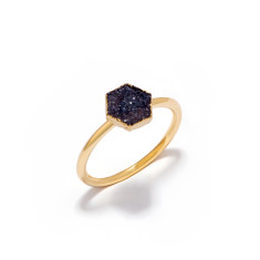 Mini Drusy Dark Grey Hexagon Stacking Ring