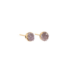 Mini Circle Amethyst Drusy Stud Earrings