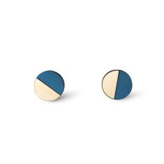 Circle half moon earrings in teal