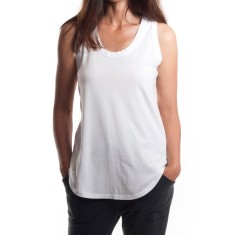 Relaxed Scoop Back Singlet in White