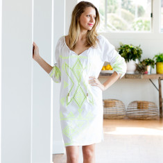 Island embroidered cotton dress in lime