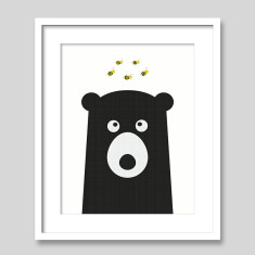 The Bear & The Bees Scandi Style Nursery Art Print