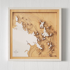 Wooden 3D Contour Map of The Whitsunday Islands