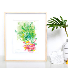 Pink potted succulent art print