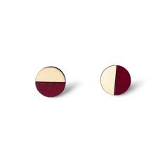Circle half moon earrings in burgundy