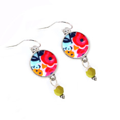 Sterling Silver, Czech glass and Japanese chiyogami earrings in sage