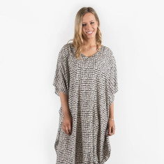 Santorini kaftan dress in black and white
