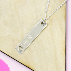 Personalised Couples Initial Heart Bar Silver Necklace