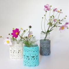 Crochet lace covered jar