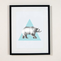 Triangle bear wall art print