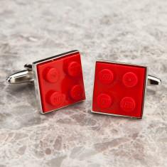 Building brick cufflinks in red
