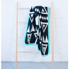 Monochrome Aztec blanket with turquoise trim