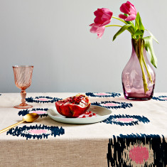 Ikat spot linen tablecloth in ink/pink