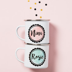 Personalised Colour Pop Enamel Mug