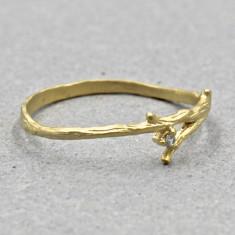 Rustic rhinestone branch ring