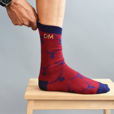 Christmas Stag Personalised Embroidered Men's Socks