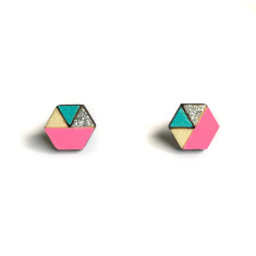 Hexagon geometric earrings in neon pink, aqua and silver glitter