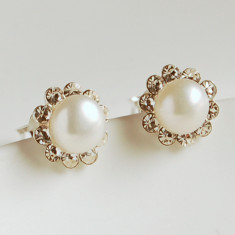 Pearl And Diamante Stud Earrings