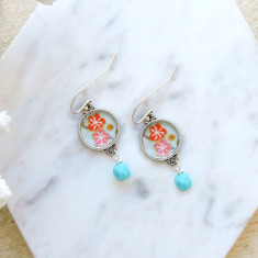 Sterling Silver, turquoise Czech glass and Japanese chiyogami earrings in blossom