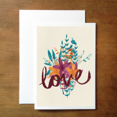 Floral love card (various colours)