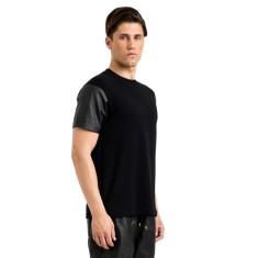 Black logan leather round neck t-shirt