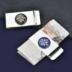 Sixpence Year Enamel Coin Money Clip