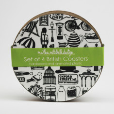 Illustrated British coasters (set of 4)