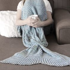 Luxe Adult Mermaid Tail Blanket in Grey/Blue Marle