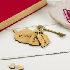 Personalised teapot family keyring