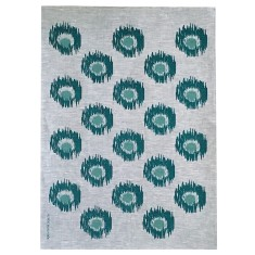 Green Ikat spot linen tea towel